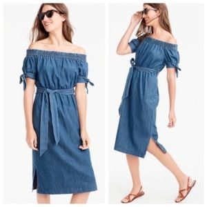 J CREW NWT Off the Shoulder Chambray Dress 4